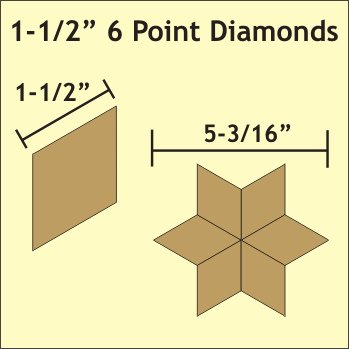 1½in 6 Point Diamond Paper Pieces-0