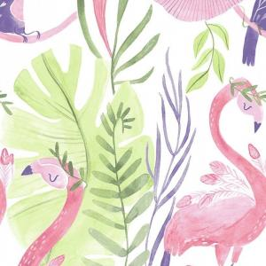 Pink Paradise - White Flamingo Panel 24in
