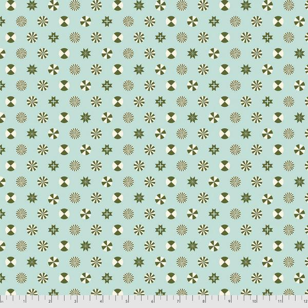 Tula Pink Holiday Homies - Peppermint Stars - Pine Fresh